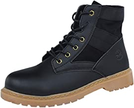 FIRERO Men's High Boots Fashion Round Head Scrub Lace-up Tooling Boots