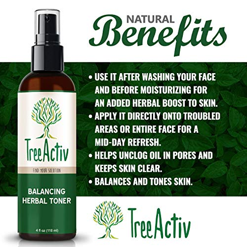 TreeActiv Balancing Herbal Toner, Facial Skin Moisturizer, Witch Hazel, Rose Water, Clary Sage, Tea Tree, Natural Astringent, Alcohol-Free, Reduce Oily Face Acne, Men, Women, Teens, 4 fl oz