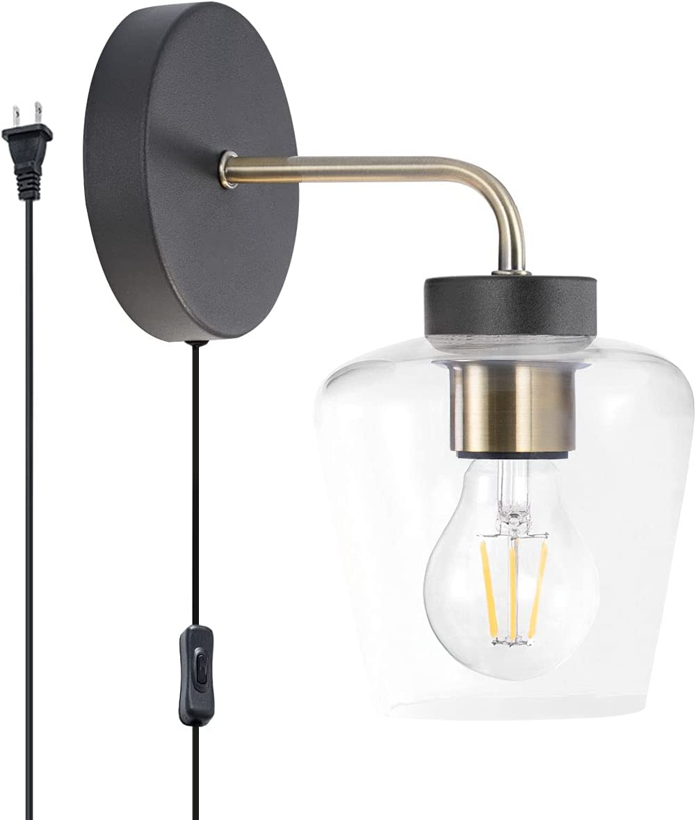Modern Clear Glass Shade Wall San Diego Mall lamp On in Plug Limited price Sconce with