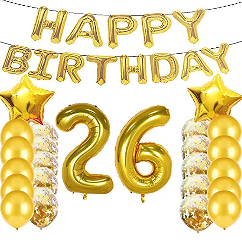 Sweet 26th Birthday Decorations Party Supplies,Gold Number 26 Balloons,26th Foil Mylar Balloons Latex Balloon Decoration,Great 26th Birthday Gifts for Girls,Women,Men,Photo Props