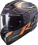 Ixon LS2 Challenger Grid Matt Carbon Orange - Casco de moto integral