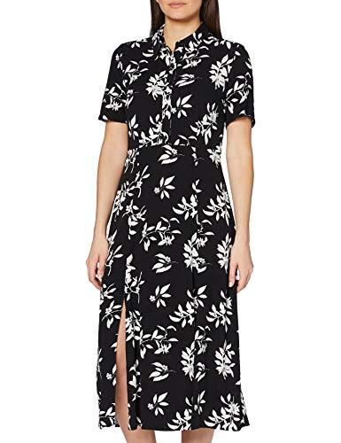 Marque Amazon - find. Robe Chemise Midi à Fleurs Femme, Noir (Black/White), 38, Label: S