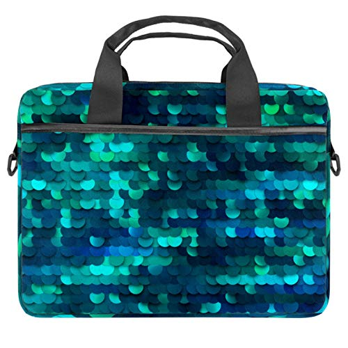 Laptop Bag Mermaid Sequined Green Bling Notebook Sleeve with Handle 13.4-14.5 inches Carrying Shoulder Bag Briefcase