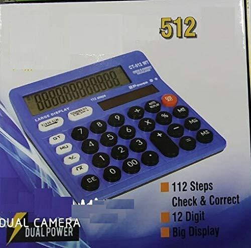 MEDIA MALL 512 Calculator for Students, Office, Shops (Blue)