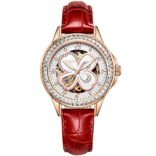 MSQL Womens Fashion Watch, Waterproof Mechanical Ceramic Wrist Watches, Rhinestone Four-Leaf Clover Dial,Red