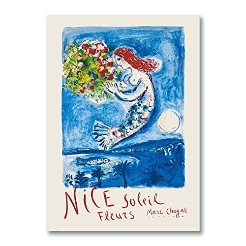 WJWGP Picasso Poster Matisse GemäLde Chagall Klassisches GemäLdewerk Meerjungfrau GemäLdedrucke Tier Cartoon Poster Kunstdruck Wand Bilder Wohnkultur Bilder 40x60cm Kein Rahmen
