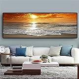 Panorama Escandinavo Arte de la pared Atardeceres Mar natural Paisaje de la playa Carteles e impresiones Lienzo Cuadro de pintura 70x210cm (28x83in) Con marco