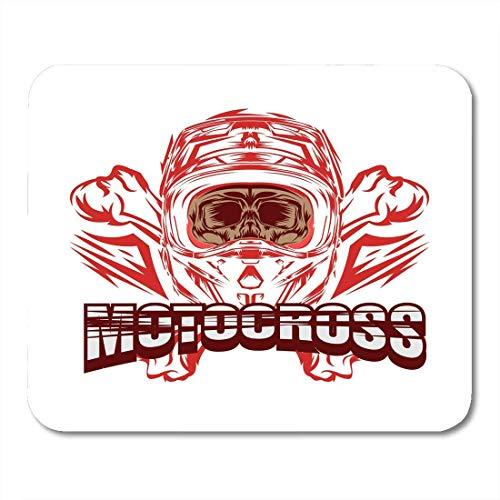 Mauspads Weiße Kollektion Schwarzer Fahrradhelm Motocross Skull Rider Design Blaue Cartoon-Farbe Mauspad für Notebooks, Desktop-Computer Mausmatten, Büromaterial