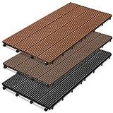 casa pura WPC Terrassenfliesen Prestige | Terrassendielen 60x30 cm | klick Fliese in Holz Optik | Testnote GUT | einzeln oder im Set | anthrazit (11 Stück / 2 m²)