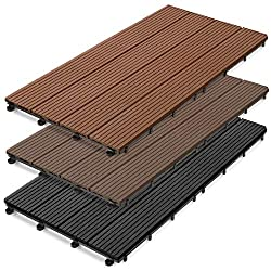casa pura WPC Terrace Tiles Prestige | Decking 60x30 cm | click tile in wood optics | Test grade GOOD | individually or in a set | anthracite (11 pieces / 2 m²)