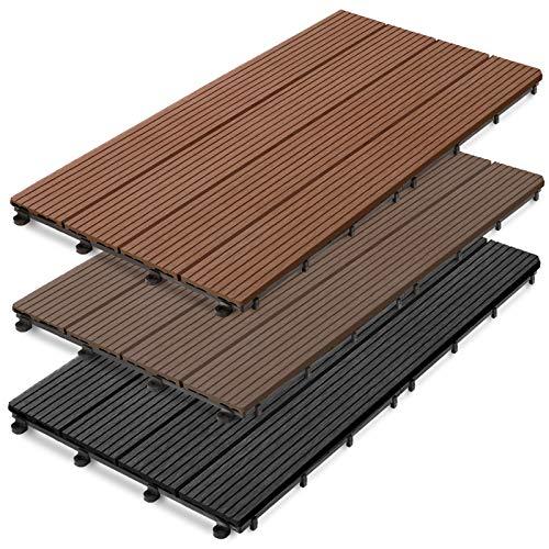 casa pura WPC Terrassenfliesen Prestige | Terrassendielen 60x30 cm | klick Fliese in Holz Optik | Testnote GUT | einzeln oder im Set | Dunkelbraun (11 Stück / 2 m²)