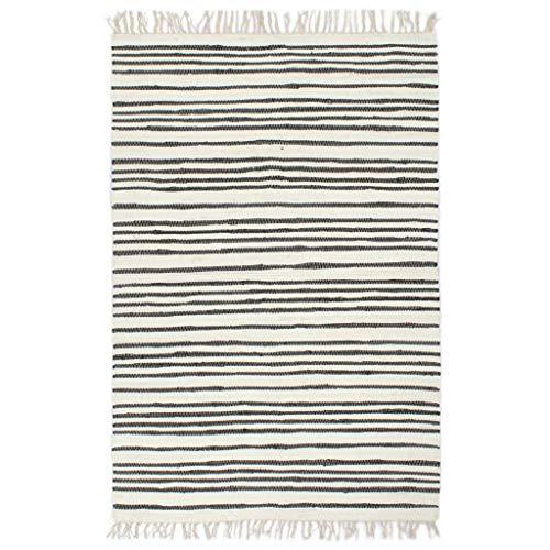 vidaXL Teppich Chindi Handgewebt Wohnzimmerteppich Handwebteppich Fleckerlteppich Fransenteppich Webteppich Läufer Baumwolle 160x230cm Weiß Anthrazit