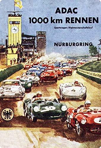 Cartel de metal de 20 x 30 cm, ADAC 1000 km de carreras Nürburgring Retro