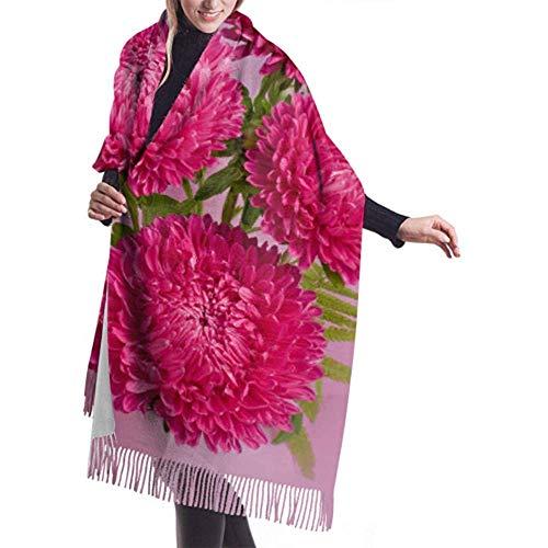 H.D. Womens Winter Schal Cashmere Feel Cheerful Bouquet Vase Rot Pink Dahlien Schals Stilvolle Schal Wraps Weiche Warme Decke Schals Für Frauen