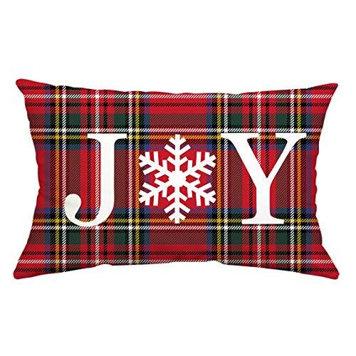 GTEXT Funda de Almohada Decorativa navideña, decoración navideña, Color Rojo, Verde, para sofá, decoración del hogar, Almohadas de Lino de 18 x 18 Pulgadas