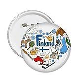 DIYthinker Paisaje de Aduanas Landmark Animales Residente Nacional de la Dieta de la bandera de Finlandia del amor del corazón ilustrado modelo alrededor del Pin Badge 5 x Botón S