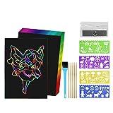 Ballery Scratch Art, Fogli da Grattare Fogli di Disegni Scratch Art Bambini Set di carta da Raschiare Scratch Notebook Paper Fogli da Grattare Lavoretti Creativi per Bambini