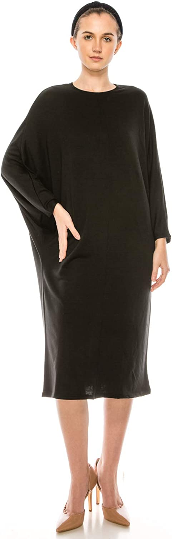 EDENNAOMI Women's Basic Midi Dress – Casual Dolman Long Sleeve Crewneck Loose Fit Knee Length Classic One Piece Dresses