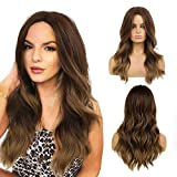 CHRSHN Brown Wig Long Wavy Synthetic Wig Ombre Dark Brown Mix Chestnut Brown Highlights Middle Part Natural Hair Wigs For Women Cosplay Wigs Heat Resistant Fiber
