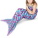 Mermaid Tail Blanket - Plush Mermaid Wearable Blanket for Girls Teens Adults All Seasons Soft Flannel Fleece Snuggle Blanket Mermaid Scale Sleeping Bag for Birthday, 55'' x 24'' (Purple)