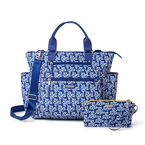 Baggallini 3-in-1 Convertible Backpack with RFID Phone Wristlet (Cobalt Tile)