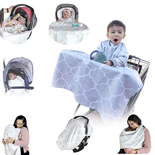Shopping Cart Cover I Baby Blanket with No Kick Off Feature I Nursing Cover I Play Mat I High Chair Cover I Baby Car Seat Cover I Baby Carrier Cover (Grey)