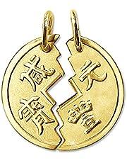 Clever Schmuck Gouden 2-delige partnerhanger als gedeelde munt Ø 18 mm Chinese Tai Pan mat en glanzend 333 goud 8 karaat voor dames en heren