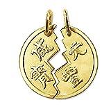 CLEVER SCHMUCK Goldener 2-teiliger Partneranhänger als Geteilte Münze Ø 18 mm chinesisch Tai Pan matt und glänzend 333 Gold 8 Karat für Damen und Herren