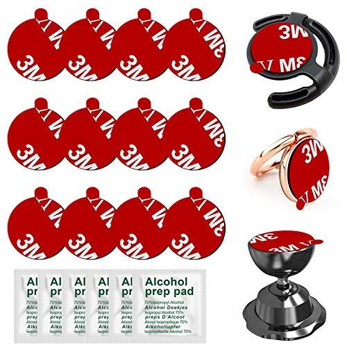 Anteel Adhesivo adhesivo compatible con base de montaje de zócalo, 12 piezas de 0.9 pulgadas (23 mm) de doble cara adhesivo de repuesto para soporte magnético de teléfono y base de anillo de teléfono