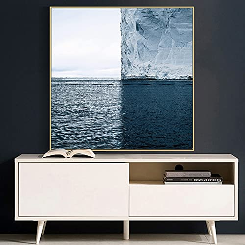 Blue sea iceberg Landscape Canvas Painting Posters and Prints Cuadros Quadro Wall Art Pictures For Living Room Home Decoration 20x20 CM (sin marco)
