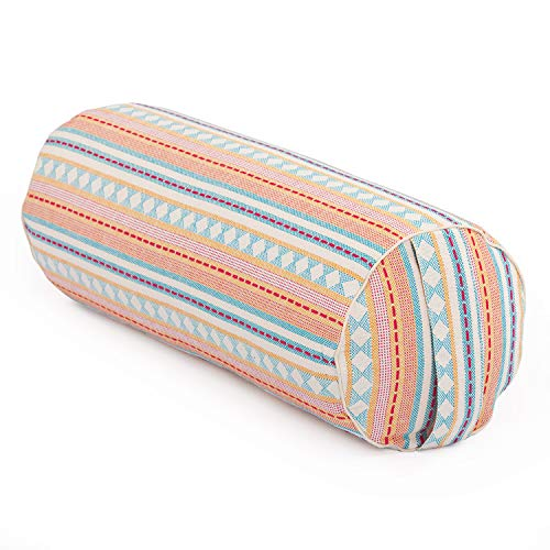 Bodhi Yoga Bolster | Ethno Collection | Jacquard-Webstoff, apricot-hellblau Gemustert