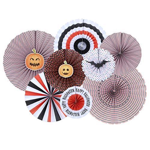 Amosfun 8 stücke Halloween hängen Papier Fans Set Nette Muster papiergirlanden Papier Blumen DIY Papier Party Hintergrund Dekoration Fan Blume