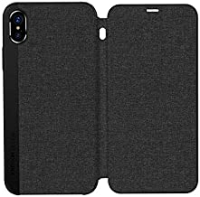 NETBOON Joy-Room for Apple iPhone X/10 Case Flip Leather Leon Series Business Style Cloth Surface Horizontal Protective Housing for iPhone X Case (Black)