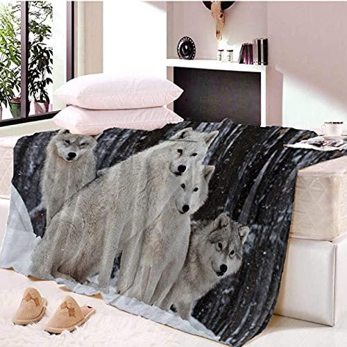 White Wolf - Manta de sherpa con impresión 3D, para viajes, niños, terciopelo, felpa, manta de forro polar, 150 x 200 cm