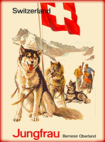 A SLICE IN TIME Jungfrau Bernese Alps Overland Siberian Husky Dogs Sled Dog Switzerland Suisse Swiss Vintage Europe European Vintage Travel Advertisement Art Poster. Poster Measures 10 x 13.5 inches