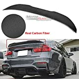 MotorFansClub Rear Spoiler Fit for Compatible with BMW 3 Series F30 F80 M3 4Dr 2012-2018 PSM Style Trunk Wing (Real Carbon Fiber)