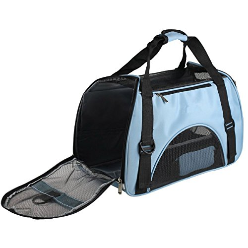 Transportn para Animales domsticos, ventilacion Bolso de Mascota, Bolso a Bandolera ergonmico para Perros y Gatos, Oxford Impermeable Bolsa Plegable para Viaje de Tren y Avin (Azul)