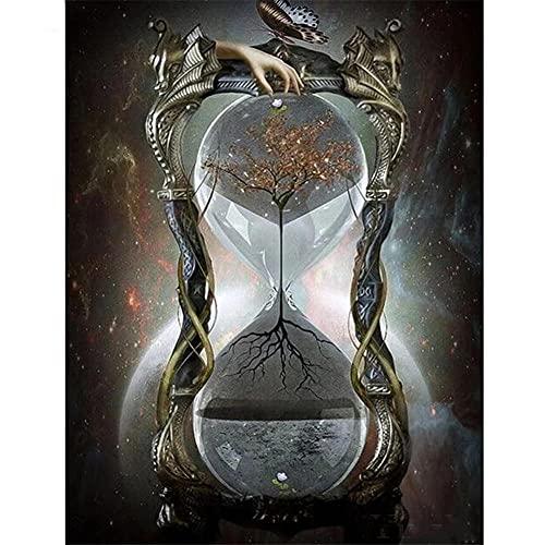 Diamante Pintura 5D Kits, Reloj de arena de cristal 40x60cm DIY Principiante, Diamond Painting Completo Bordado Punto de Cruz, Diamante Craft Decoración de la pared del Hogar