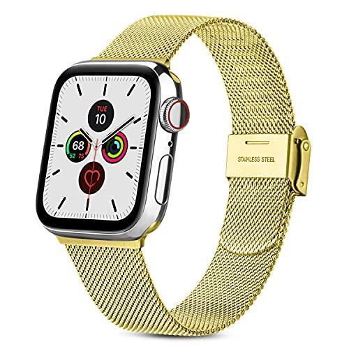 RUHE Metal Correas Compatible con Apple Watch 38mm 40mm 42mm 44mm,Pulsera de Repuesto de Acero Inoxidable Correa para iWatch Series SE 6 5 4 3 2 1,Hombres y Mujer(38mm/40mm,Oro)