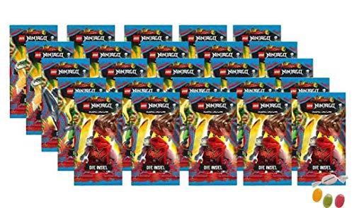 Blue Ocean Lego Ninjago Trading Cards Serie 6 'La isla - 25 paquetes de 5 tarjetas de felicitación, además recibirás 1 x surtido de pegatinas y caramelos de frutas