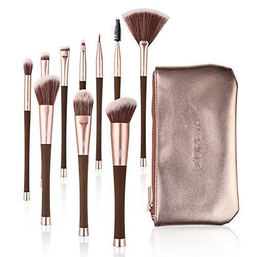 Makeup Brush Set with Case 10Pcs Premium Synthetic Eye Shadow Foundation Blending Blush Kabuki Makeup Brushes Kit by Zoreya
