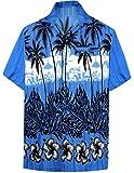 LA LEELA Casual Hawaiana Camisa para Hombre Señores Manga Corta Bolsillo Delantero Vacaciones Verano Hawaiian Shirt M-(in cms):101-111 Azul_W382