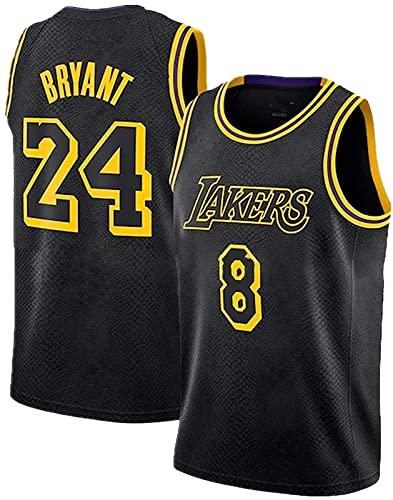CPBY Lakers # 8n # 24 Swingman Men and Women Universal Basketball Ropa Hip Hop Party Par De Ropa Black Mangobarbi Men's Basketball Service (s-XXL), Jersey - XXL