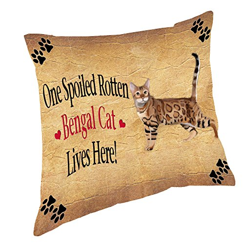 Doggie of the Day Bengal Spoiled Rotten Cat Throw Pillow (18x18)