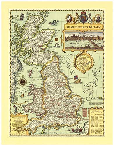 National Geographic: Mapa de pared de la Gran Bretaña de Shakespeare, 21.25 x 27.25 pulgadas, impresión de calidad artística