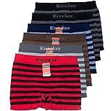 Knocker 6 Men's Seamless Boxer Briefs Underwear, Horizontal Strips, One Size