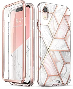 i-Blason Cosmo Full-Body Bumper Case with Built-in Screen Protector for iPhone XR 2018 Release Pink Marble 6.1