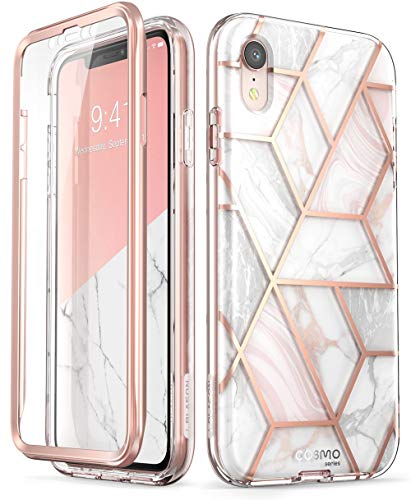 """i-Blason Cosmo Full-Body Bumper Case with Built-in Screen Protector for iPhone XR 2018 Release, Pink Marble, 6.1"""""""