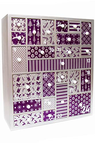 Wooden Advent Calendar for Christmas in Purple and Silver - Advent Calendar for Girls, Women, Teens, Grandparents, Baby. Refillable Advent for Beauty Product, Makeup, Gifts, Accessories