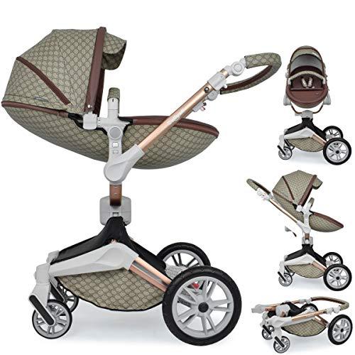 Daliya ® 2in1 360° Turniyo Kinderwagen Kombikinderwagen Buggy mit Babywanne & Sportsitz, inklusive Babyschalen-Adapter, Aluminium Rahmen (2in1, Braun mit Motiv)